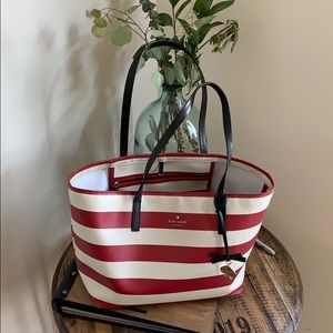 Red and white Kate Spade tote